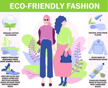 Eco-friendly fashion. Environmentally-friendly clothing, eco-friendly fashion and textiles, fair-trade products. Eco friendly innovations infographics. Sustainable fashion, waste-free products. Vecteurs