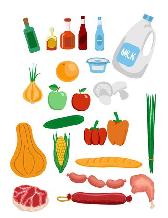 All food set. Food icons. Vector illustration. grocery set Vettoriali