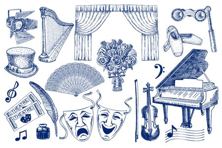 Theater elements sketch big set. Isolated. Sketchy theater icons. Theatre acting performance elements. Ticket, Masks, Lyra, Flowers, Curtain stage, Musical notes, Pointe shoes
