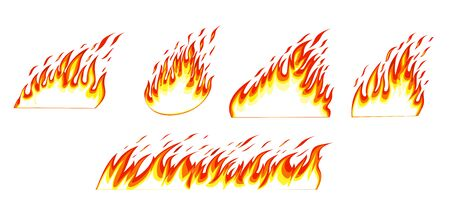 Fire flames isolated on white background. Fire borders.
