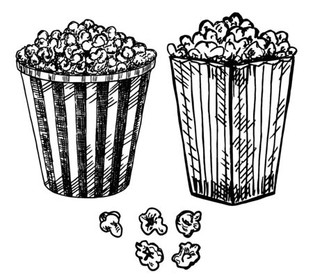 Popcorn in box illustration vector. Sketch set