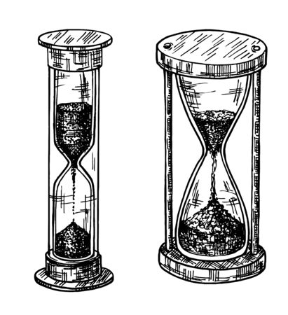 Sandglass sketch set. Sand glass, hand drawn set. Hourglass of different shapes. Ilustração