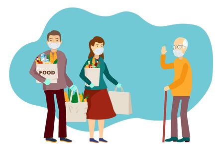 Medical masked volunteers brought food to an elderly man. Volunteer social worker delivers grocery to old man. Coronavirus pandemic. Epidemic. Vector flat illustration. Taking care of older people