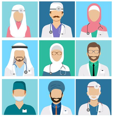 Arabian muslim medical staff avatars. Doctor and physician, surgeon and nurse, dentist and pharmacist vector icons. Set of avatars