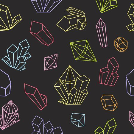 Graphic crystals drawn in line art style. Vector seamless pattern. Coloring book page design for adults. Bright colors on a black background.