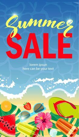Sale banner template design, Summer sale special offer. Summer sale long vertical banner.