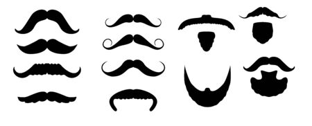 Set of isolated vector facial hair style. Beards and mustaches types. barber big collection. Silhouette vintage beard and mustache. Barber cartoon black beard label. Hipster style.