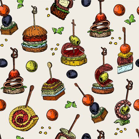 Finger food vector seamless pattern. Food appetizer and snack sketch. Color vector illustration. Canapes, sandwich drawing for buffet, restaurant, catering service. Tapas sketch illustration.