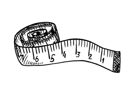 Rolled up tape measure sketch. Measuring tape. Sewing craft attribute, dressmaking workshop equipment. Diet, weight loss symbol. Length, size measurement tool. Professional tailor instrument