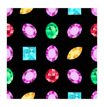 Diamonds or brilliants seamless pattern. Vector jewels gemstone on dark background. Flat design gemstone. Pattern can be used as wrapping paper, background, fabric print, web page backdrop, wallpaper 일러스트