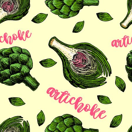 Seamless pattern with the artichoke symbol. Artichoke sketch vector seamless pattern. Vettoriali