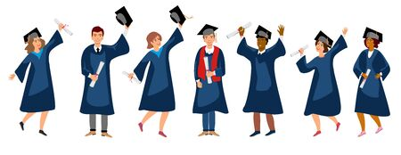 Student graduation set vector illustration. Adult education, male and female graduates concept. happy students at different nations.