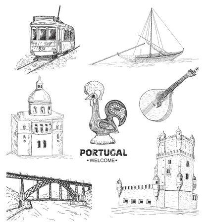 Portugal elements and symbols. Sketch. Rooster Barcelos, Portuguese tram, bridge in Porto.