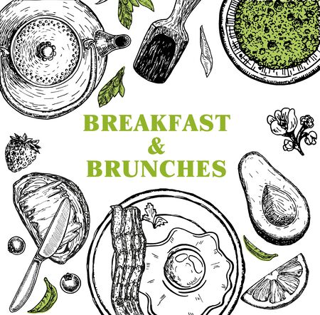 Breakfasts and brunches top view frame. Food menu design. Classic english breakfast. Vintage hand drawn sketch vector illustration. Good nutrition.