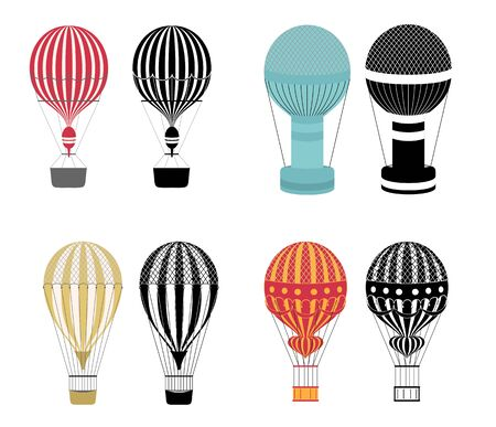 Hot air balloons. Colorful and black and white aerostat isolated on white background. Aerostat flight transport, air balloon, ballooning journey illustration. Vettoriali