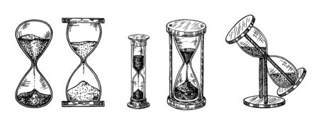 Vintage hourglasses set. Collection of antique timers. Ink sketch isolated on white background. Hand drawn vector illustration. Retro style. Vector Illustration