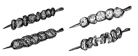 Different types of kebabs set. Collection of illustrations of Georgian cuisine. hand drawn sketches with national meat dish of Caucasian cuisine barbecue on skewers. sketch set