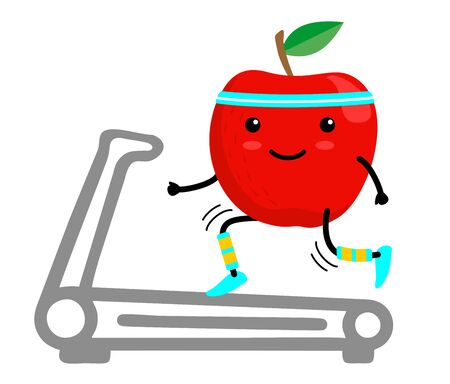 Healthy red apple cartoon character running on a treadmill. Eating healthy. Isolated illustration on a white background. Healthy, sportive lifestyle concept Vectores