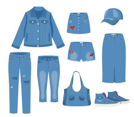 Jeans clothing set. Trendy fashion ripped denim casual clothes vector illustration. Jeans garments models isolated on white background. Jeans, denim skirts, shorts, jacket, sneakers, bag. Blue jeans.