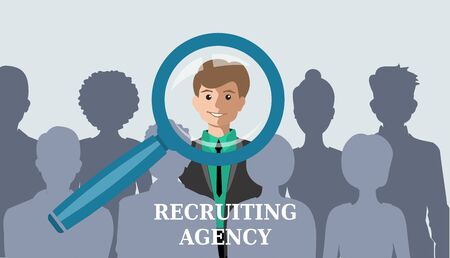 Recruitment concept. The choice of one candidate from many others. Hand zoom magnifying glass picking business person resume. Vector illustration Illustration