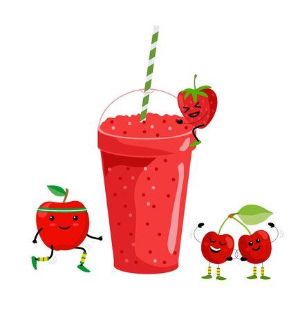 Smoothie drink. Fresh summer fruit juice. Red fruit smoothie. Cute cartoon fruits with mug. Drinking menu, healthy vegan lifestyle vector illustration.