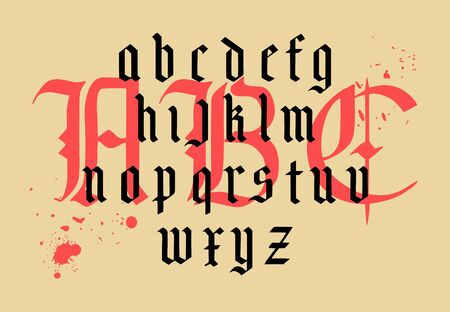 Vector modern gothic alphabet. Vintage font. Gothic Font Hand drawn vector. Typography for labels, headlines, posters etc. Composition of gothic letters.