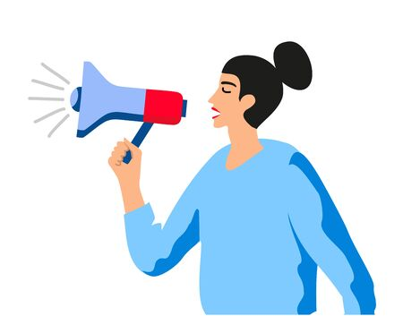 A woman shouts in megaphone. Lady boss with bullhorn. Manager or team leader with megaphone. Isolated female yell vector illustration. Protesting woman.