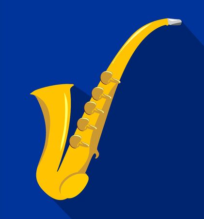 Saxophone flat icon. Vector illustration. Classical music wind instrument saxophone. Blues, funk or jazz musical equipment. Isolated on white background Ilustrace