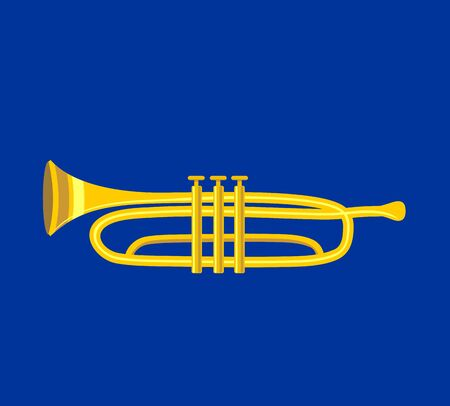 Trumpet icon. Flat vector illustration trumpet. Golden trumpet. Wind musical instrument- trumpet. Isolated on white background.