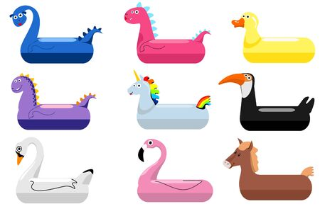 Animals pool float rings. Kids swimming rings with animal heads. Baby water floating duck and flamingo, dinosaurs, swans, unicorns lifebuoys, children cartoon sea party toys, vector illustration