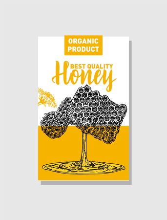 Honey production cards. Identity for a company producing bee honey. Beekeeping poster. Çizim