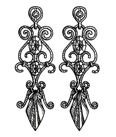 Hand drawn earrings. Stylish jewelry, vector sketch illustration. Long earrings with precious stones 矢量图像