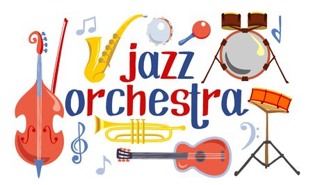 Vector musical instruments or jazz orchestra. Double bass, saxophone, drums, acoustic guitar, jazz trumpet and maracas, - instruments for jazz band Stock Illustratie