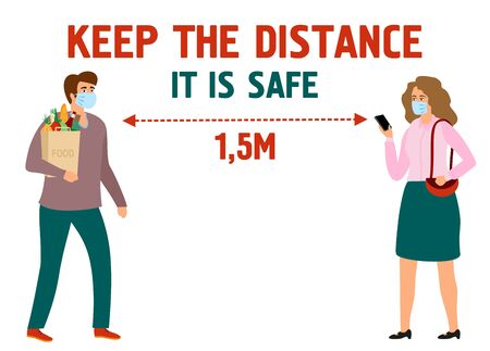 Info banner keep the distance. Virus prevention and protection. Girl and boy in protective masks. Woman and man at a safe distance. Social distance. Vector illustration Banco de Imagens - 150326924