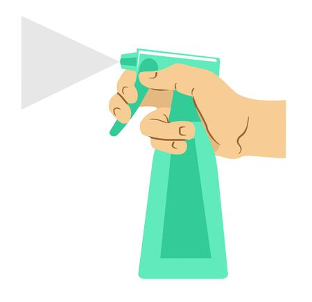 Hand holds bottle spray with disinfectant liquid, antiseptic. Virus protection concept. Home disinfection, hygiene. Vector illustration, flat design isolated on white background.
