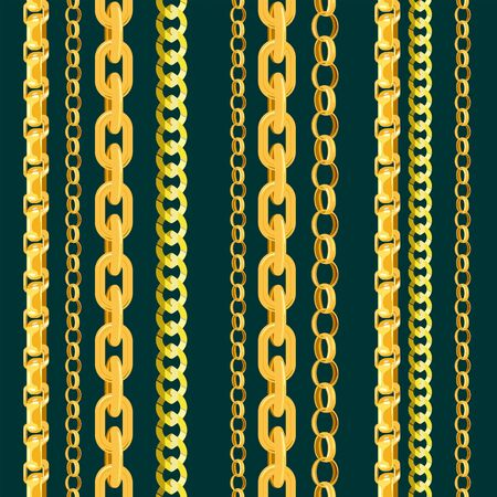 Chain vector seamless pattern gold chainlet in line or metallic link of jewelry illustration set of chaining string and necklace isolated on white background. Gold chain seamless pattern. Ilustração