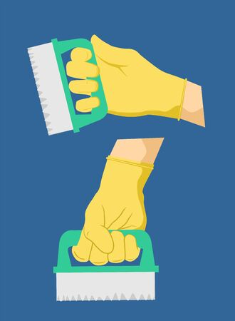 Household cleaning brush in hand set. Disinfection equipment, sanitation isolated on white human hands cleaner service, housework set. Hygiene cleanup chores vector illustration.