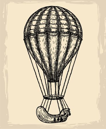 Hot Air Balloon vector  design template. retro airship or transport icon. Sketch on a vintage background.