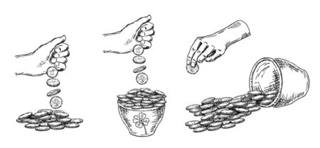 Finance, a lot of money. Pile of coins, money in a pot hand drawn sketch collection, on white background. Black and white vector illustration.