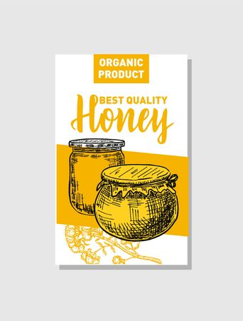 Vector sketch honey poster. Hand drawn vintage style Illustrations. Card design template. Retro background. Banco de Imagens - 150431370