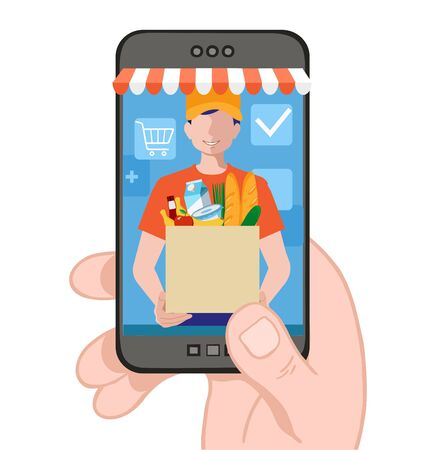 Man delivering online with grocery order from smart phone. Colorful vector illustration concept for online ordering of food. Delivery concept. Shopping on social networks through phone flat design. Ilustração
