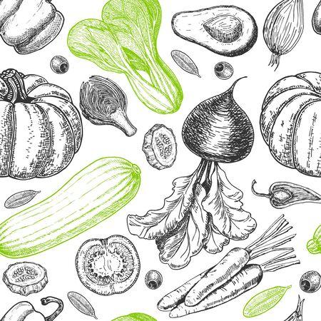 Seamless pattern with sketch of vegetables. Vegetables background. Healthy food. Vegetables on white background. Vector illustration
