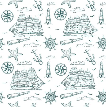 Nautical elements seamless pattern. Sea background. Marine pattern for fabric, baby clothes, background, textile, wrapping paper and other decoration. Vector illustration