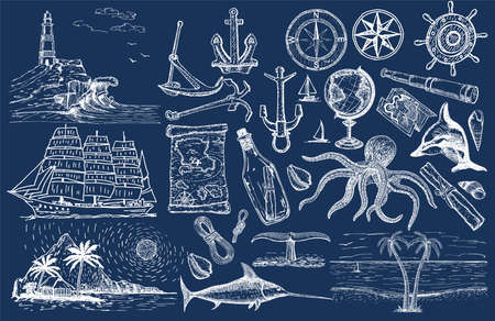 Nautical hand drawn vector set. Sailing sketch. Vector marine objects. Hand drawn isolated sailing attributes compass, sailing ship, message in a bottle, lighthouse, palm trees, coast, spyglass.
