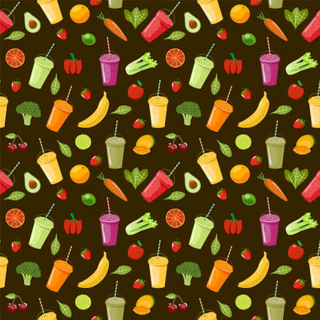Seamless pattern with delicious vegan drinks, tasty juices or smoothies made of berries, fruits and vegetables on dark background. Vector illustration for wrapping paper, fabric print, wallpaper.