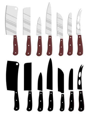 Cartoon kitchen knives and Kitchen knives black silhouettes. Isolated chef cook drawing knife set, butcher knives tools vector illustration isolated on white background. Restaurant knives for work