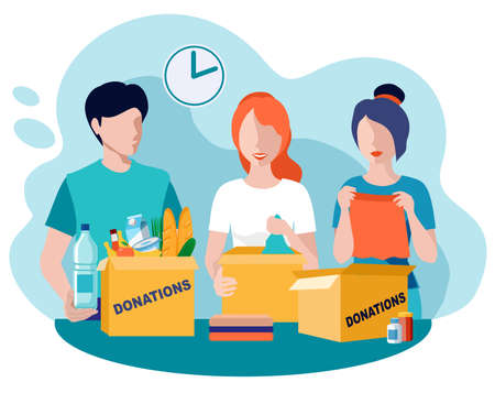Donations and charity. Food and clothes donation. Vector flat illustration. Social care and charity concept. Volunteer people collect donations into boxes. Vector volunteering concept