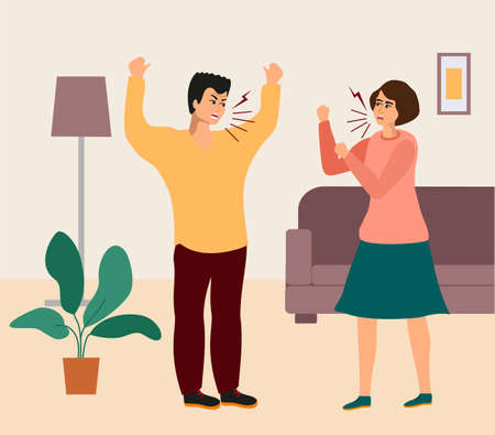 Family quarrel. Young couple quarrel. People shouting, quarrel illustration. Screaming boy and girl, angry people. Angry girl and boy, man quarrel with woman