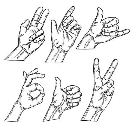 Set of paths drawing hand gestures, sketch vector illustration. Hand drawn vector sketch collection of hand gestures