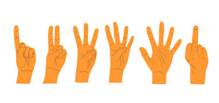 Hands gestures isolated on white background. Hand count. Flat finger and number isolated on white background. Vector set of nonverbal sign - fist, victory, pointing up. Ilustração